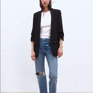ZARA rolled up sleeves blazer | Small | Black